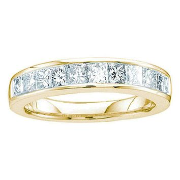 14kt Yellow Gold Women's Princess Channel-set Diamond Single Row Wedding Band 1/2 Cttw - FREE Shipping (US/CAN)