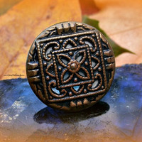 Adjustable Button Ring, Vintage Button, Boho, Direct Checkout, Ready to Ship