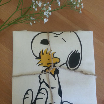 Snoopy and Woodstock Hugging Retro Natural Cotton Tote Bag