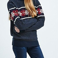Urban Renewal Vintage Surplus Snowflake Jumper in Navy - Urban Outfitters