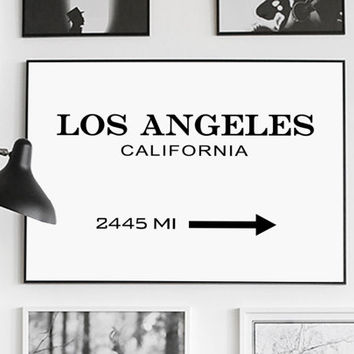 Los Angeles Print, Los Angeles Sign, LA Modern Print, LA, Fashion Print, Los Angeles Printable, Typography Black and White