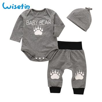 Wisefin Bear Baby Clothes Set Cotton Newborn Baby Boy Clothes Outfit Fall Toddler Clothing Set Infant Bodysuits Long Sleeve+Pant