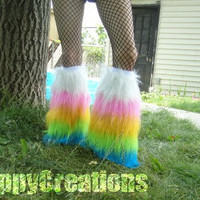 Pastel glitter rainbow fluffies for raves or festivals.