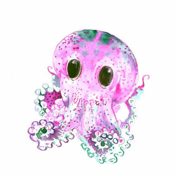 Purple Violet Cute Baby Octopus painting, 12 x 9 in, original watercolor art nautical sea world animal nursery painting