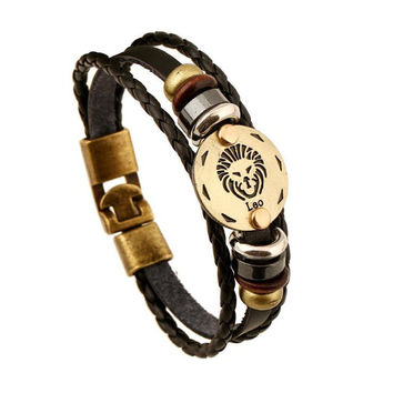 AMOURJOUX 12 Zodiac Signs Constellation Charm Black Genuine Leather Bracelet Man Vintage Braided Bracelets For Men Women