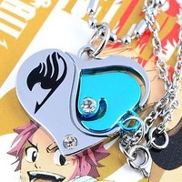 Cosplay Fairy Tail Love Anime Couple Necklace Pendant Heart Figure Design