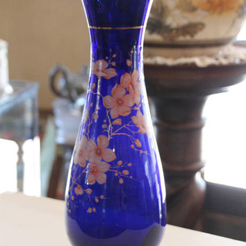 French vintage cobalt glass vase, French antique blue cobalt hand painted gilt vase, 1900 Blue cobalt gilt glass vase, French vase Blue vase
