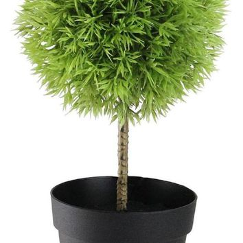 VOND4H 9.75' Potted Two-Tone Artificial Grass Ball Topiary Tree