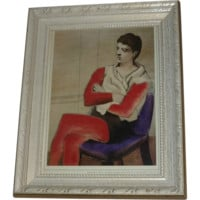 Picasso - Saltimbanque Seated with Arms Crossed-1923- 1973 Framed Print