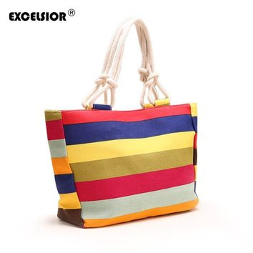 Fashion Women Lady Striped Zipper Shopping Handbag Rope Shoulder Canvas Bag Tote Purse Casual Bolsa Beach Large Bags Sac A Main