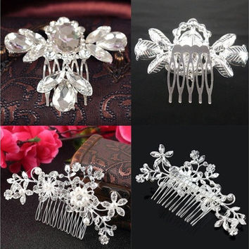 Bridal Wedding Crystal Rhinestone Flower Hair Clip Comb Pin Headband Diamante ID [7983383879]