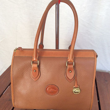 Large Vintage Genuine Dooney and Bourke Satchel Bag Handbag Tan Leather