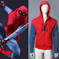 Takerlama 2017 Spiderman Homecoming Cosplay Coat Hoodie Spiderman Peter Parker Hoodie Zipper Men's Sweater Halloween Costume