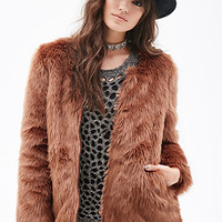FOREVER 21 Zippered Faux Fur Coat Rust