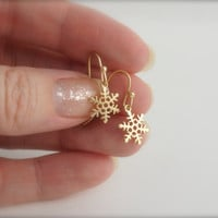 SNOWFLAKE EARRINGS, Gold Snowflake Dangles, Holiday Jewelry, Winter Jewelry