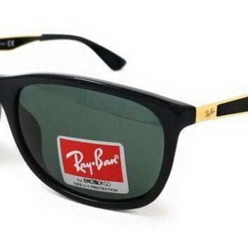 Kalete Ray Ban Sunglasses 4267F 622771 Black/Green Polarized mens Square 59x19x140