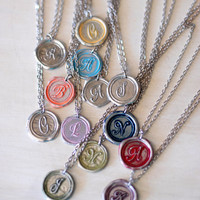 PINK Personalized GIFT IDEA / Initial Wax Seal Pendant /  a b c d e f g h i j k l m n o p r s t u v w z