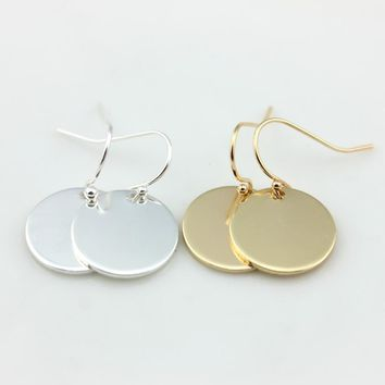 2017 New Fashion Minimalist Round Circle Disc Drop Earrings for Women