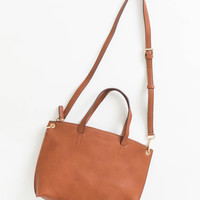 Jenna Brown Crossover Faux Leather Bag