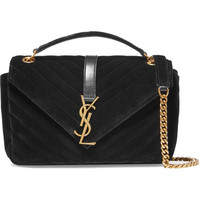 Saint Laurent - Monogramme medium quilted velvet shoulder bag