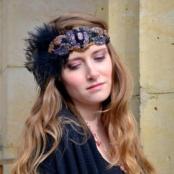 1920s Flapper Headband Headpiece, Great Gatsby, Downton Abbey, Beaded Art Deco, headdress vintage