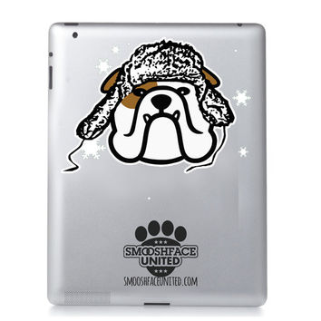 Bulldog lumberjack decal - perfect for the cold weather to come! Holiday bully sticker - English Bulldog Christmas & Holiday season!