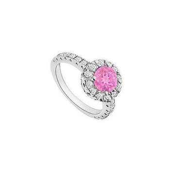 ICIK7Q Pink Sapphire and Diamond Halo Engagement Ring : 14K White Gold - 1.30 CT TGW