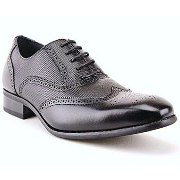 Delli Aldo Men's 19122 Wing Tip Lace Up Woven Dress Oxford Shoes Black