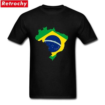 2017 Slim Fit Cool Cotton Map of Brazil with flag T Shirts for Men Basic Male Patriotic Tees Big Size T-shirt
