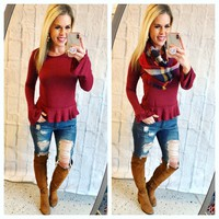 Favorite Season Burgundy Top