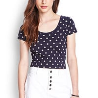 FOREVER 21 Dotted Ladder-Back Crop Top Navy/Cream