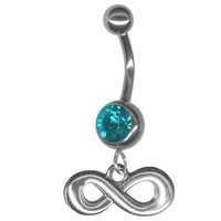Turquoise Color Infinity Belly Button Ring 14 gauge 3/8 Steel Barbell-Dangle Figure 8 Navel Ring