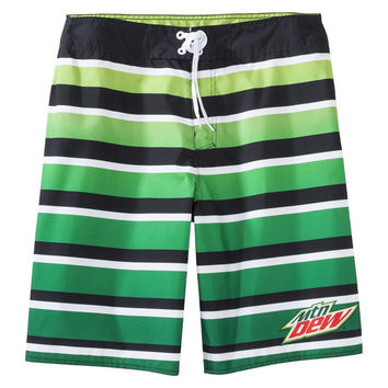 Mountain Dew - Logo Gradient Green Stripe Board Shorts