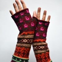 Bohemian Fingerless Gloves - Long Red Tones Fingerless Gloves - Floral Groves - Fall Accessories - Fashion Gloves nO 104.