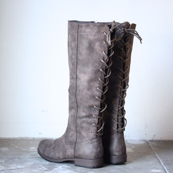 laced up weathered riding boots , taupe | final sale