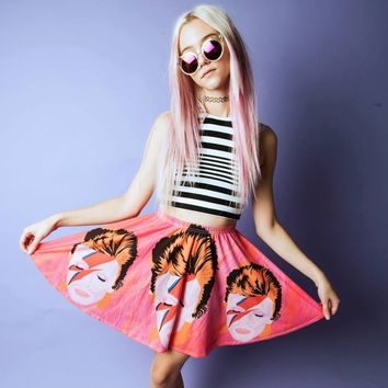 David Bowie Skirt - Ziggy Stardust Skater Skirt - Original Illustration
