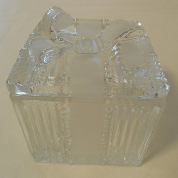 "Crystal Glass Gift Box 3"", Made in Poland, Vintage Lead Crystal Gift Box Shape, Frosted and Clear Glass with Glass Bow on Lid"