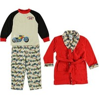 Baby Bunz Little Boys' Motercycle 3 Piece Bathrobe And Pajama Set