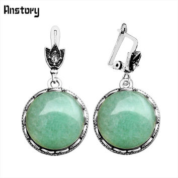 Round Natural Stone Earrings For Women Vintage Antique Silver Plated Party Hollow Flower Pendant Fashion Jewelry TE263