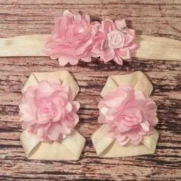 Cream and Light Pink Rose and Carnation Flower Baby Headband and Barefoot Sandal Set