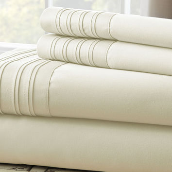 1000 Thread Count 4-Piece Sheet Set with Pleated Hem Ivory Queen