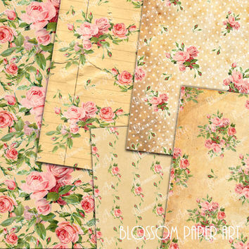 Floral Collage Sheet - Old Paper - Roses - Digital Scrapbooking Pack - Decoupage - Digital Paper - Printable - DIY - 1620