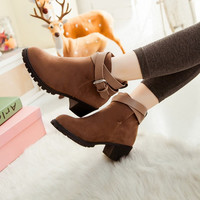 Velvet Ankle Boots Low Chunky Heels Belt Buckle Women Shoes 7643