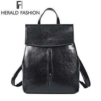 Women Genuine Leather Backpack Vintage  Ladies Shoulder Bag Womens Purse