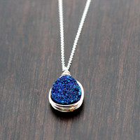 Cobalt Druzy Teardrop Necklace - Sterling Silver