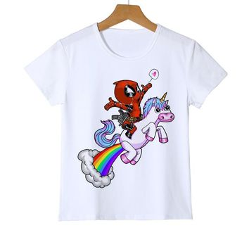 e2be9aa3a11a Deadpool Dead pool Taco Summer And Unicorn Printed kid T shirt