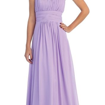 Lilac Bridesmaid Dress A Line Long Chiffon Sweetheart
