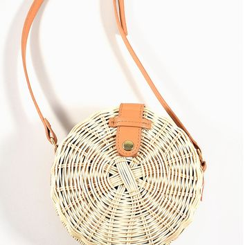 Unique Vintage Retro Style Wicker & Brown Leatherette Round Crossbody