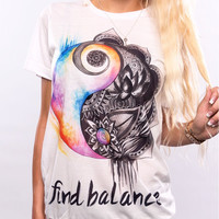 "White ""Find Balance"" Letter and Floral Print Short Sleeve T-Shirt"
