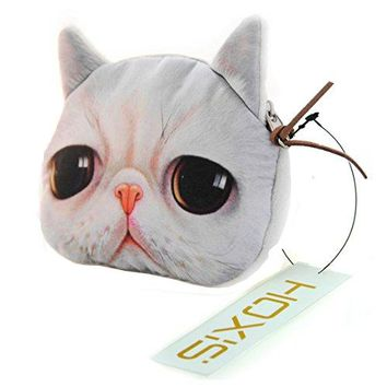 Hoxis Adorable 3D Cat and Dog Face Plush Coin Purse